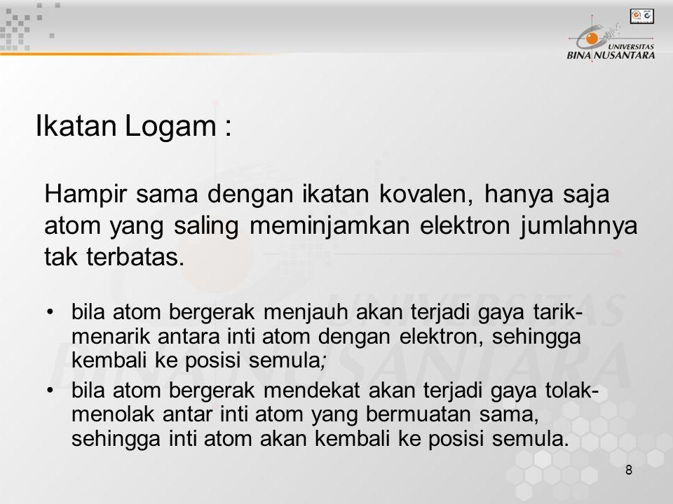 8 Ikatan Logam : Hampir sama dengan ikatan kovalen, hanya saja atom yang saling meminjamkan elektron jumlahnya tak terbatas. bila atom bergerak menjau