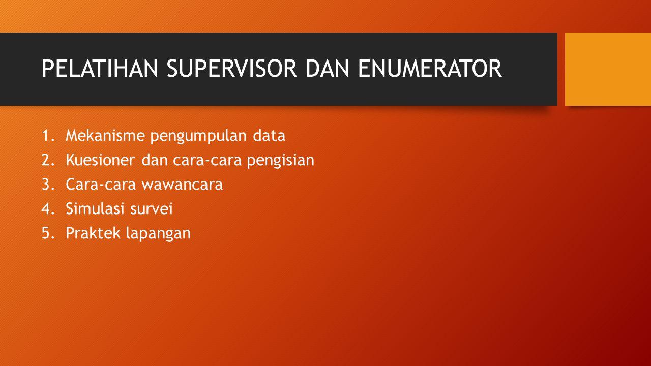 PELATIHAN SUPERVISOR DAN ENUMERATOR 1.Mekanisme pengumpulan data 2.Kuesioner dan cara-cara pengisian 3.Cara-cara wawancara 4.Simulasi survei 5.Praktek