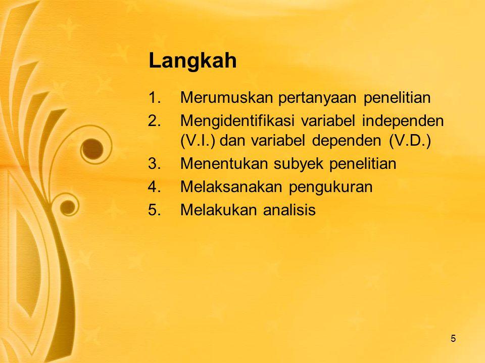 5 Langkah 1.Merumuskan pertanyaan penelitian 2.Mengidentifikasi variabel independen (V.I.) dan variabel dependen (V.D.) 3.Menentukan subyek penelitian