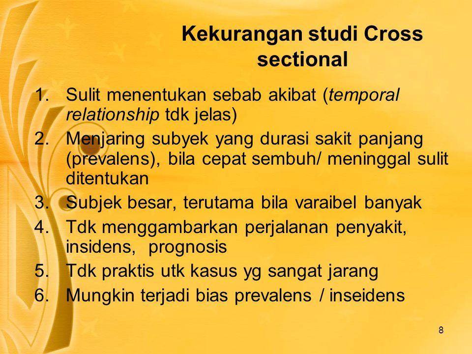 8 Kekurangan studi Cross sectional 1.Sulit menentukan sebab akibat (temporal relationship tdk jelas) 2.Menjaring subyek yang durasi sakit panjang (pre
