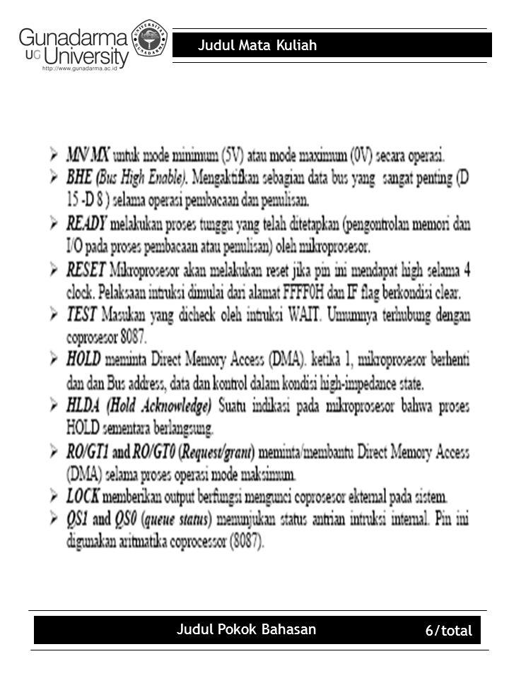 Judul Mata Kuliah Judul Pokok Bahasan 6/total
