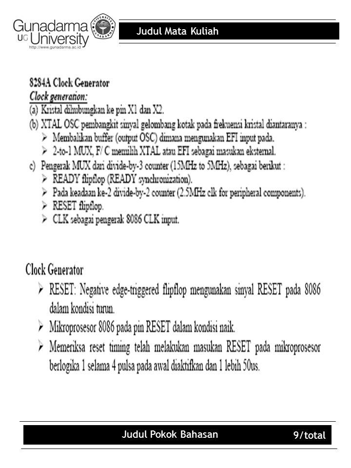 Judul Mata Kuliah Judul Pokok Bahasan 10/total