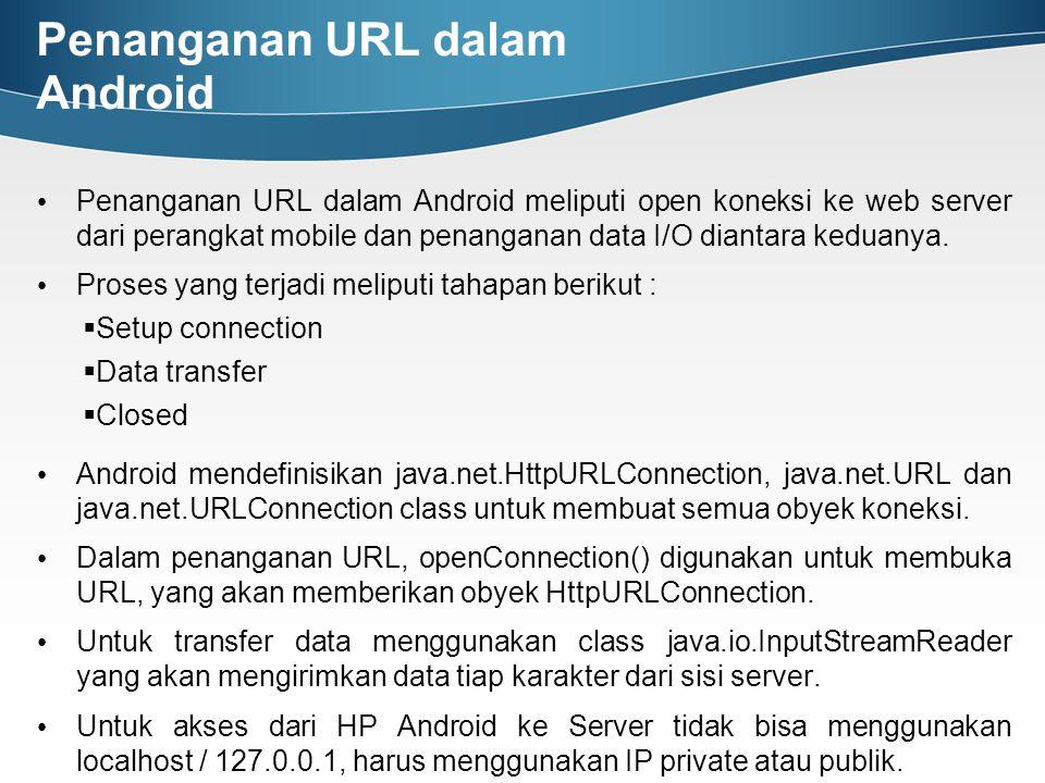 Penanganan URL dalam Android Penanganan URL dalam Android meliputi open koneksi ke web server dari perangkat mobile dan penanganan data I/O diantara k