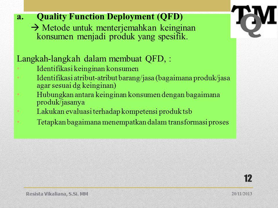 a.Quality Function Deployment (QFD)  Metode untuk menterjemahkan keinginan konsumen menjadi produk yang spesifik. Langkah-langkah dalam membuat QFD,