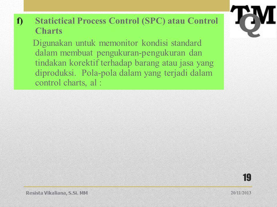f)Statictical Process Control (SPC) atau Control Charts Digunakan untuk memonitor kondisi standard dalam membuat pengukuran-pengukuran dan tindakan ko