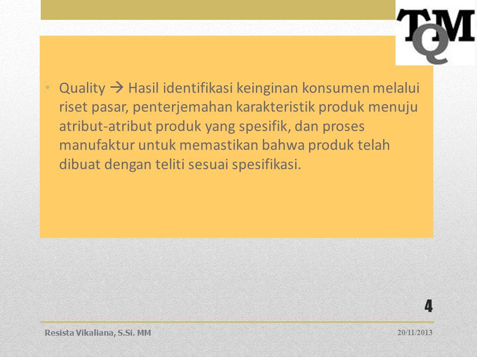 Quality  Hasil identifikasi keinginan konsumen melalui riset pasar, penterjemahan karakteristik produk menuju atribut-atribut produk yang spesifik, d