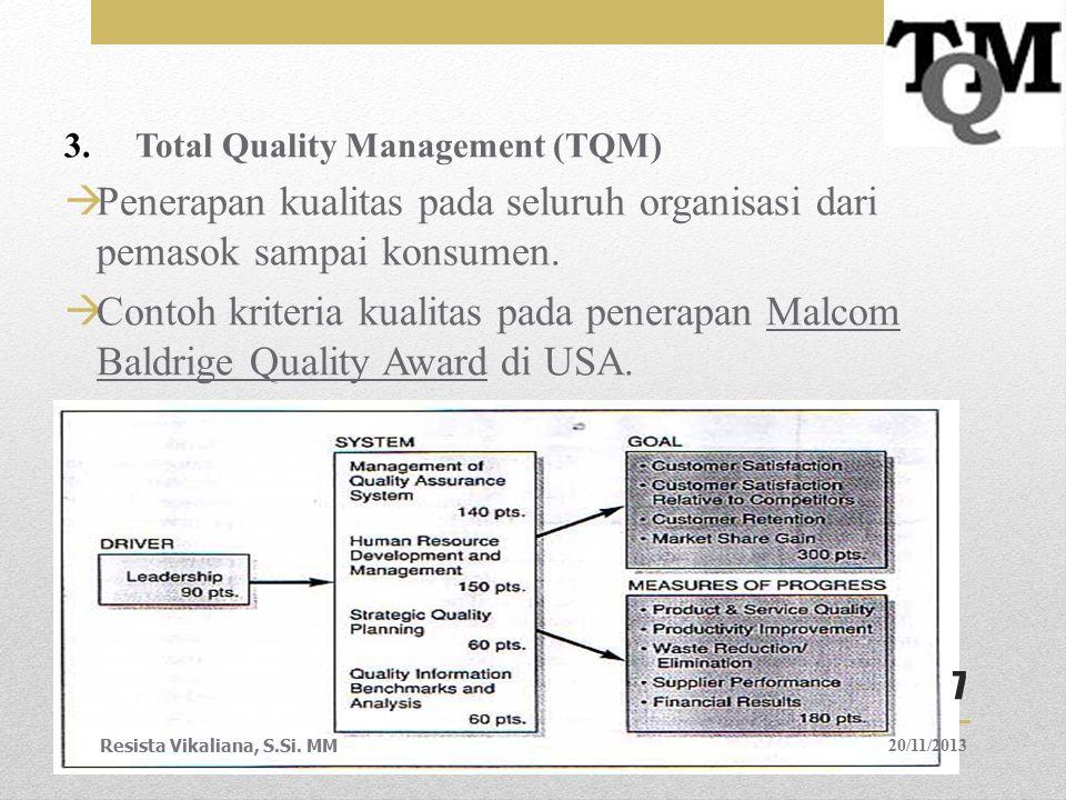 3.Total Quality Management (TQM)  Penerapan kualitas pada seluruh organisasi dari pemasok sampai konsumen.  Contoh kriteria kualitas pada penerapan