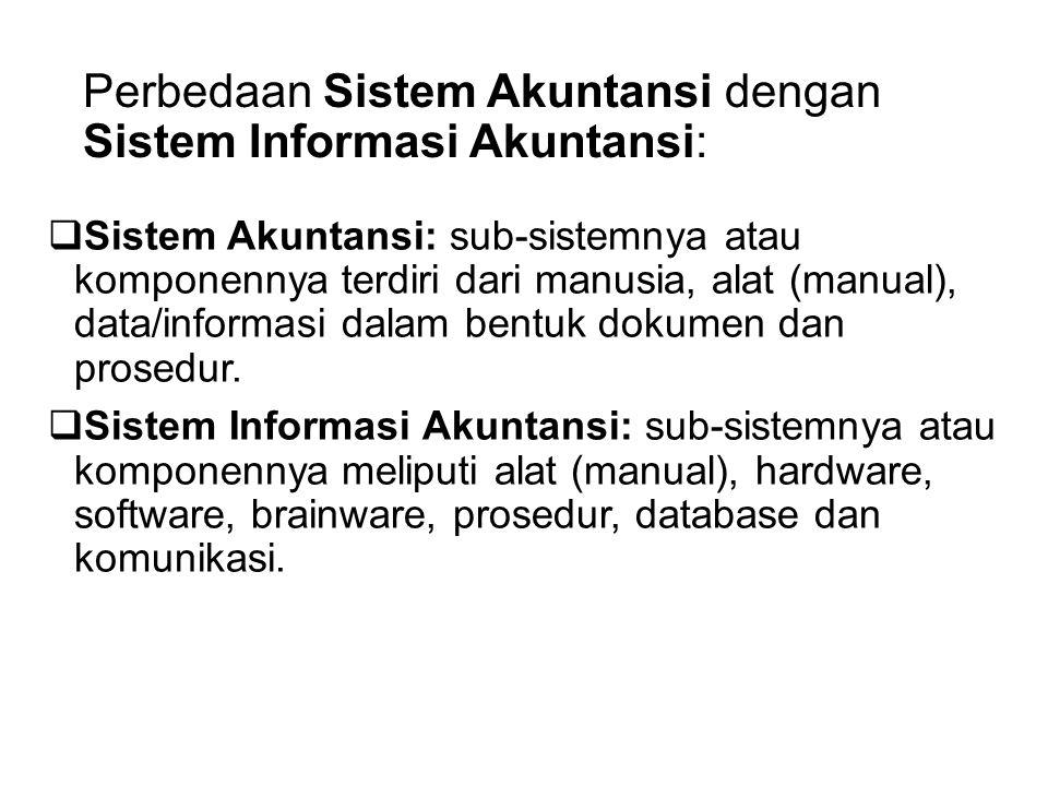 Perbedaan Sistem Akuntansi dengan Sistem Informasi Akuntansi:  Sistem Akuntansi: sub-sistemnya atau komponennya terdiri dari manusia, alat (manual),