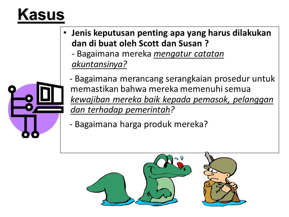 Jenis keputusan penting apa yang harus dilakukan dan di buat oleh Scott dan Susan ? - Bagaimana mereka mengatur catatan akuntansinya? - Bagaimana mera
