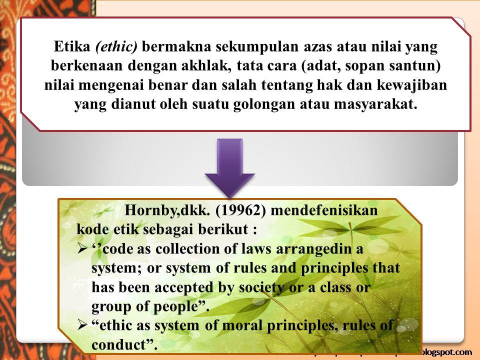 Tujuan Kode Etik R.Hermawan (1979) Untuk menuningkatkan mutu organisasi profesi Untuk meningkatkan mutu profesi Untuk meningkatkan pengabdian para anggota profesinya Untuk menjaga dan memelihara kesejahteraan para anggotanya Untuk menjunjung tinggi martabat profesinya