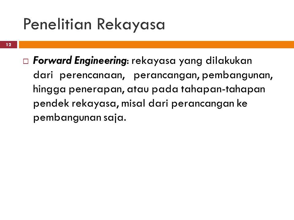 Penelitian Rekayasa  Forward Engineering: rekayasa yang dilakukan dari perencanaan, perancangan, pembangunan, hingga penerapan, atau pada tahapan-tahapan pendek rekayasa, misal dari perancangan ke pembangunan saja.