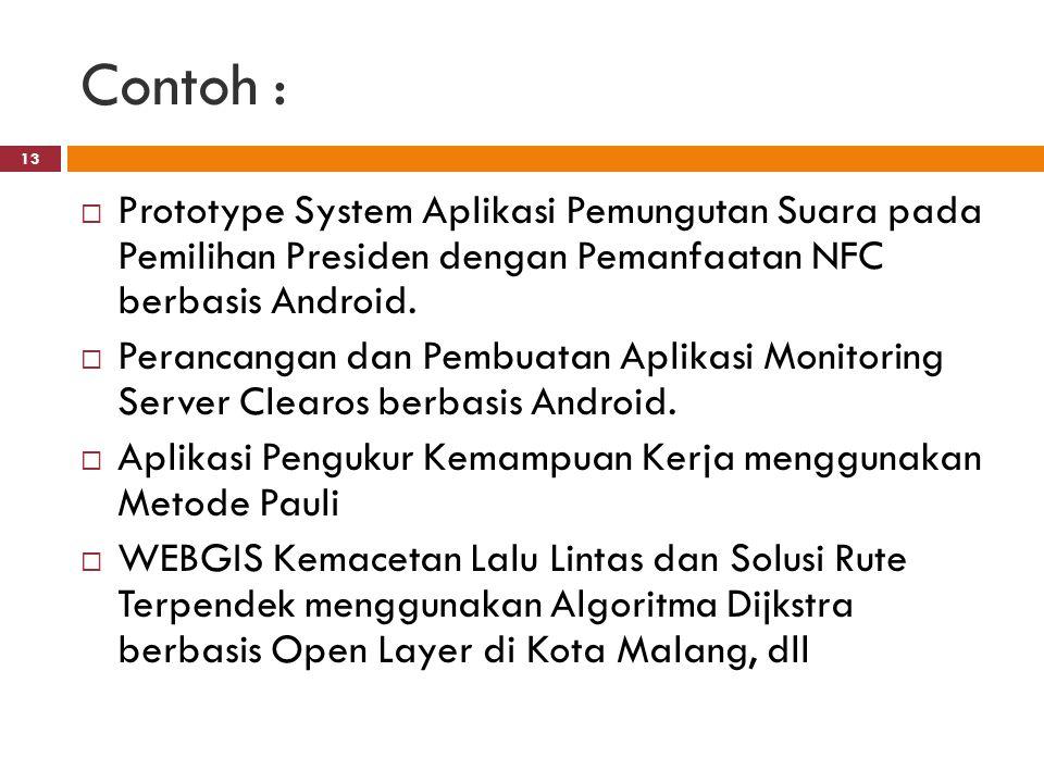 Contoh : 13  Prototype System Aplikasi Pemungutan Suara pada Pemilihan Presiden dengan Pemanfaatan NFC berbasis Android.