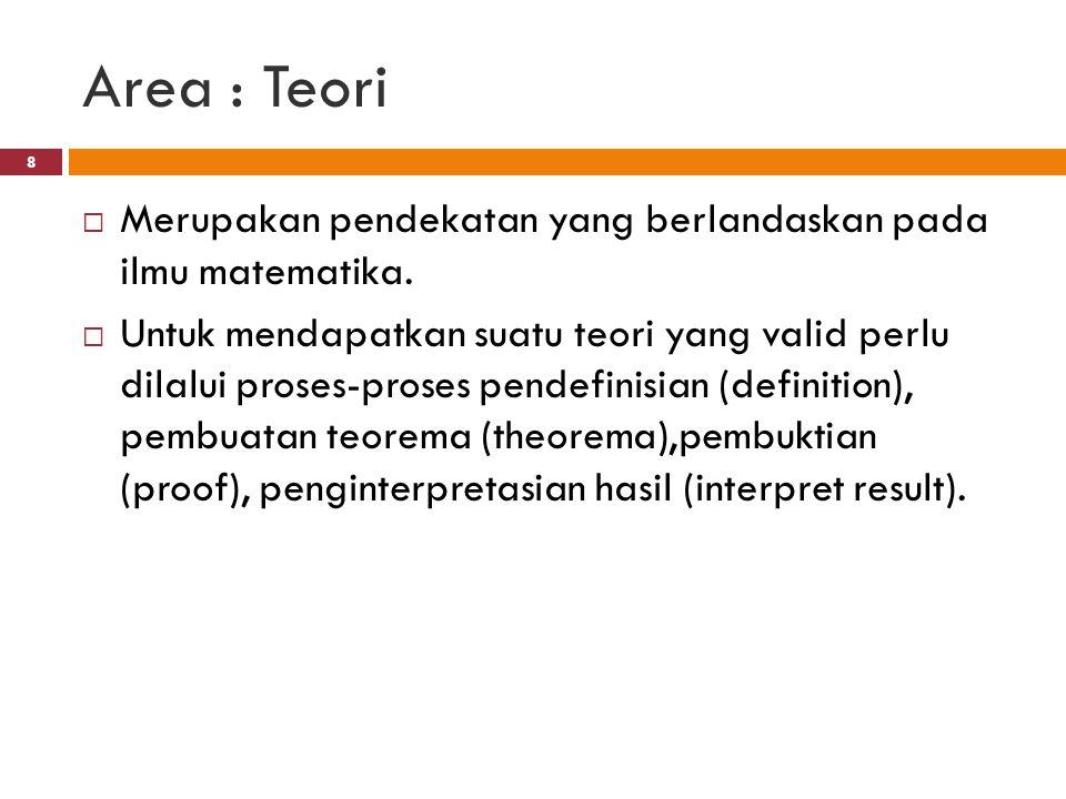 Area : Teori  Merupakan pendekatan yang berlandaskan pada ilmu matematika.