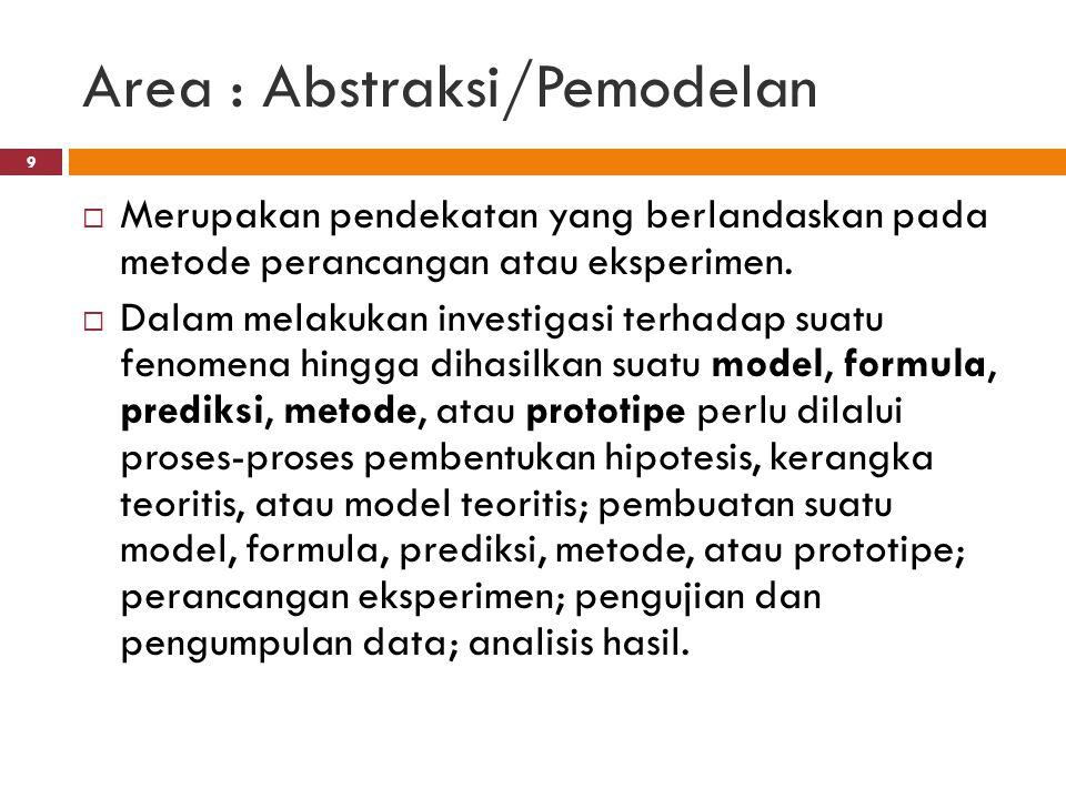 Area : Abstraksi/Pemodelan  Merupakan pendekatan yang berlandaskan pada metode perancangan atau eksperimen.