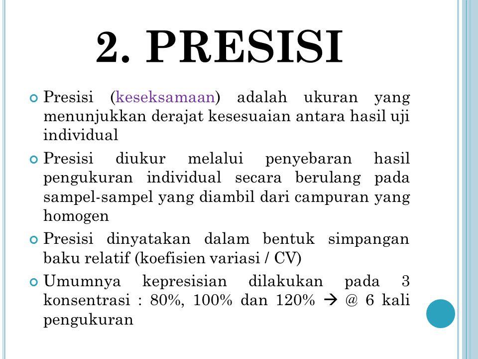 2. PRESISI Presisi (keseksamaan) adalah ukuran yang menunjukkan derajat kesesuaian antara hasil uji individual Presisi diukur melalui penyebaran hasil