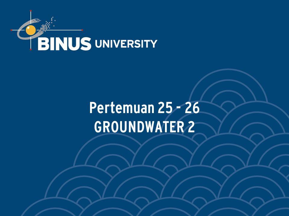 Bina Nusantara LEARNING OUTCOMES Pada akhir pertemuan ini, diharapkan mahasiswa akan mampu : Menjelaskan gerakan air tanah dibawah bangunan air