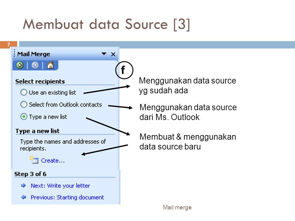 Membuat data Source [4] Mail merge 8 g h i
