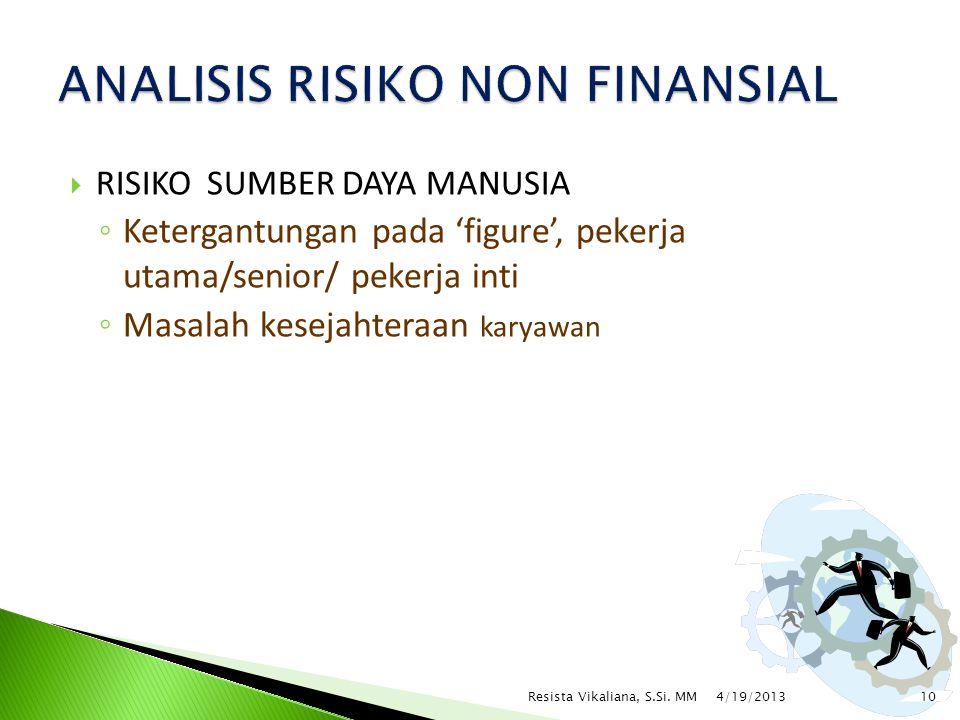  RISIKO SUMBER DAYA MANUSIA ◦ Ketergantungan pada 'figure', pekerja utama/senior/ pekerja inti ◦ Masalah kesejahteraan karyawan 4/19/2013 10Resista V