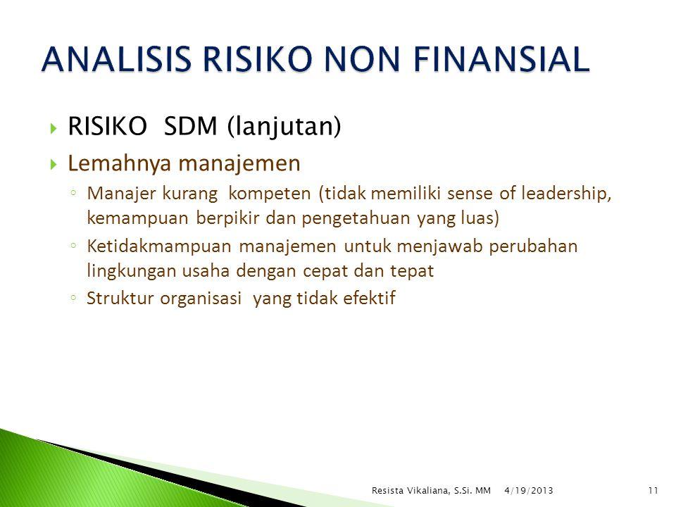  RISIKO SDM (lanjutan)  Lemahnya manajemen ◦ Manajer kurang kompeten (tidak memiliki sense of leadership, kemampuan berpikir dan pengetahuan yang lu