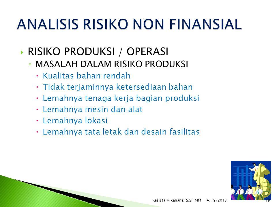  RISIKO PRODUKSI / OPERASI ◦ MASALAH DALAM RISIKO PRODUKSI  Kualitas bahan rendah  Tidak terjaminnya ketersediaan bahan  Lemahnya tenaga kerja bag