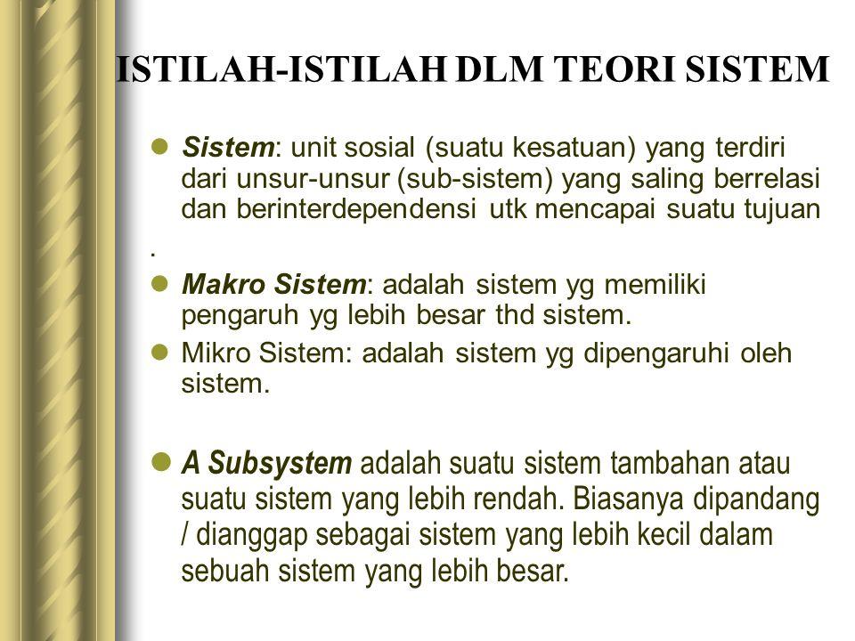 ISTILAH-ISTILAH DLM TEORI SISTEM Sistem: unit sosial (suatu kesatuan) yang terdiri dari unsur-unsur (sub-sistem) yang saling berrelasi dan berinterdep