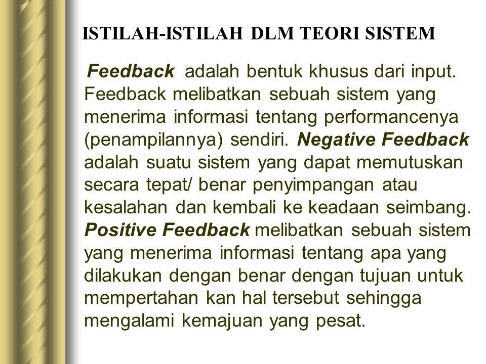 ISTILAH-ISTILAH DLM TEORI SISTEM Feedback adalah bentuk khusus dari input. Feedback melibatkan sebuah sistem yang menerima informasi tentang performan