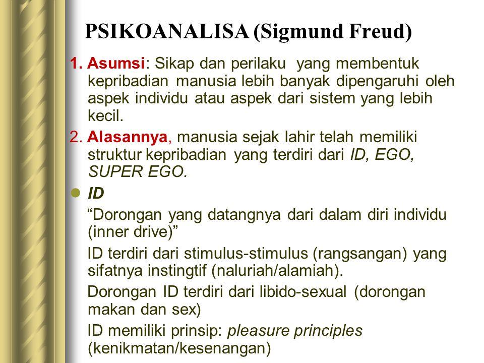 PSIKOANALISA (Sigmund Freud) 1. Asumsi: Sikap dan perilaku yang membentuk kepribadian manusia lebih banyak dipengaruhi oleh aspek individu atau aspek