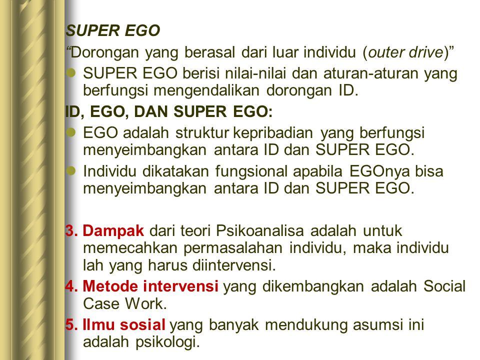 """SUPER EGO """"Dorongan yang berasal dari luar individu (outer drive)"""" SUPER EGO berisi nilai-nilai dan aturan-aturan yang berfungsi mengendalikan doronga"""