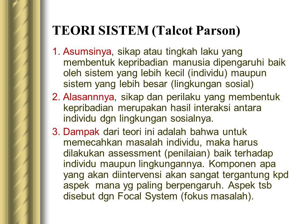 TEORI SISTEM (Talcot Parson) 1. Asumsinya, sikap atau tingkah laku yang membentuk kepribadian manusia dipengaruhi baik oleh sistem yang lebih kecil (i