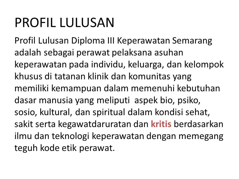 PROFIL LULUSAN Profil Lulusan Diploma III Keperawatan Semarang adalah sebagai perawat pelaksana asuhan keperawatan pada individu, keluarga, dan kelomp