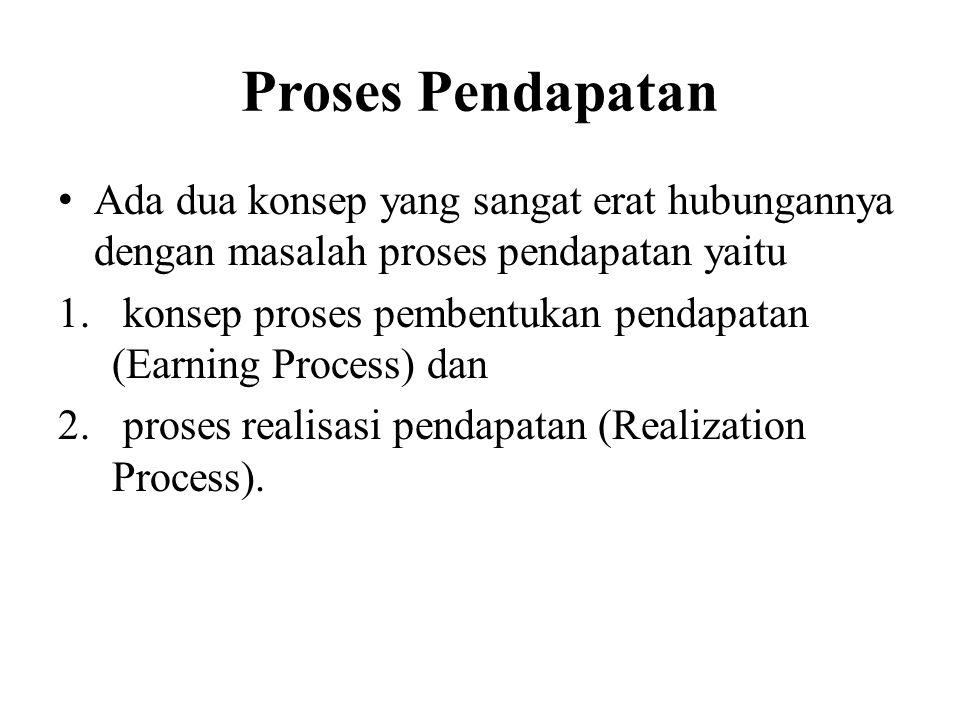Proses Pendapatan Ada dua konsep yang sangat erat hubungannya dengan masalah proses pendapatan yaitu 1.