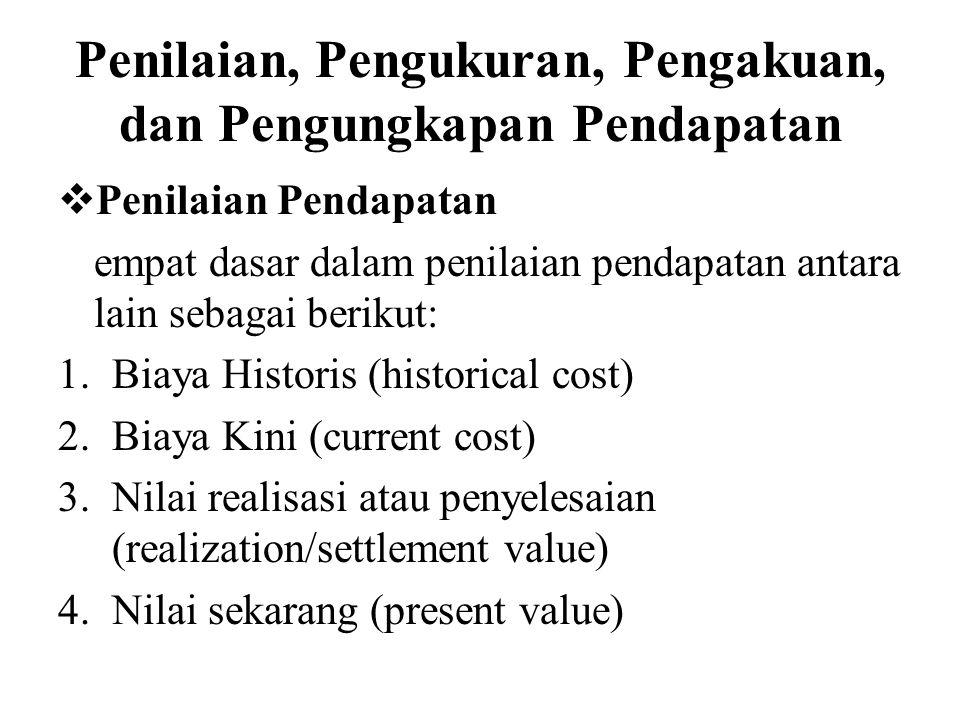  Pengukuran Pendapatan Berikut ini ada berbagai macam dasar pengukuran pendapatan antara lain: 1.Cash Equivalent 2.Nilai setara kas 3.Harga dibawah harga pasar 4.Harga pasar 5.Harga kesepakatan