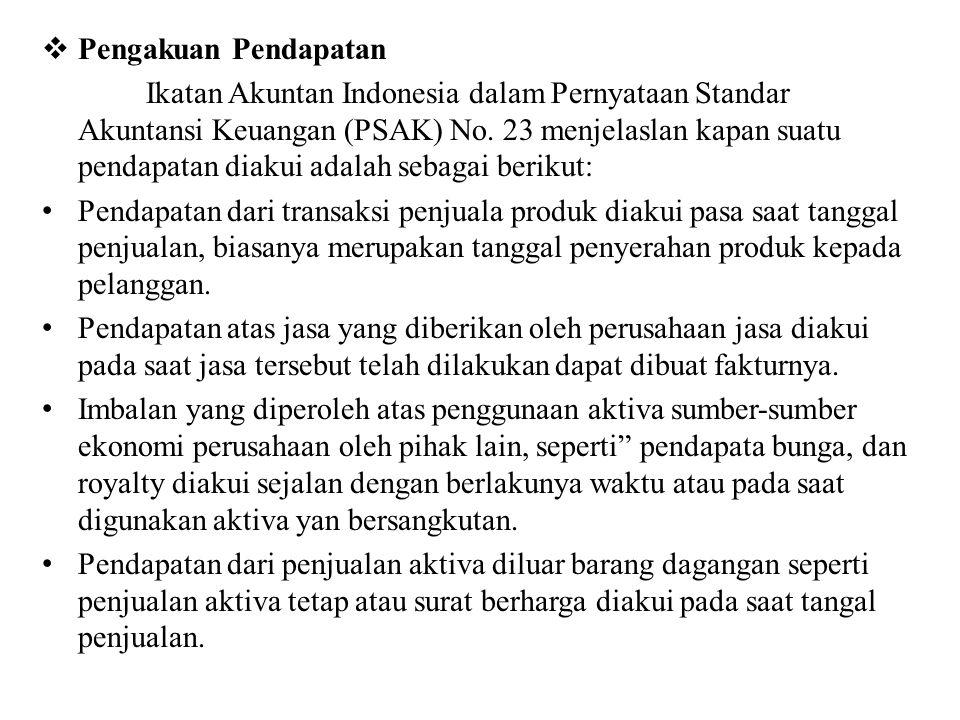  Pengakuan Pendapatan Ikatan Akuntan Indonesia dalam Pernyataan Standar Akuntansi Keuangan (PSAK) No.
