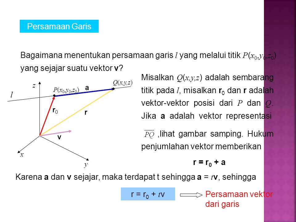 Jika v =  a, b, c , r =  x, y, z  dan r 0 =  x 0, y 0, z 0 , maka persamaan di atas memberikan x= x 0 + ta, y = y 0 + tb, z = z 0 + tc yang disebut persamaan parametrik dari garis melalui titik P(x 0, y 0, z 0 ) dengan bilangan arah v =  a, b, c .