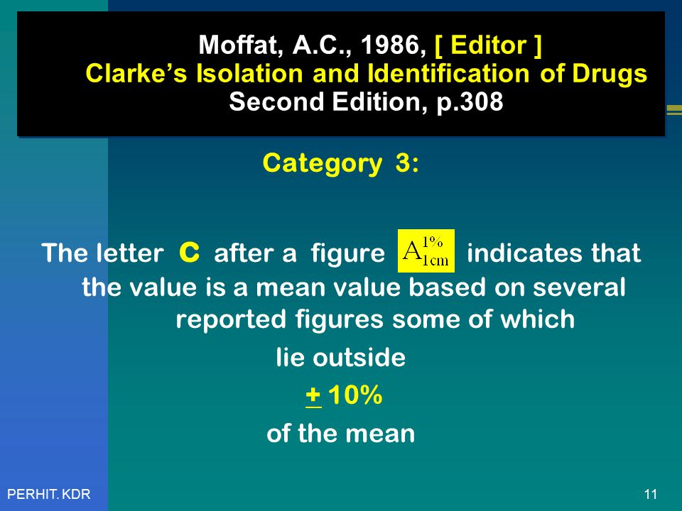 11PERHIT. KDR Moffat, A.C., 1986, [ Editor ] Clarke's Isolation and Identification of Drugs Second Edition, p.308 Category 3: The letter c after a fig