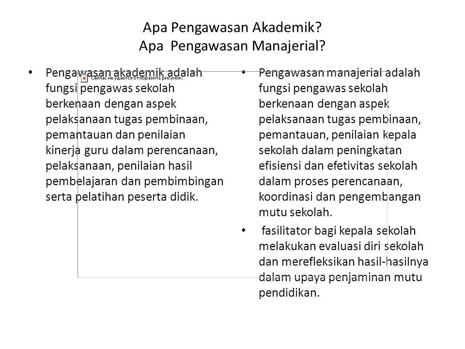 Apa Pengawasan Akademik? Apa Pengawasan Manajerial? Pengawasan akademik adalah fungsi pengawas sekolah berkenaan dengan aspek pelaksanaan tugas pembin