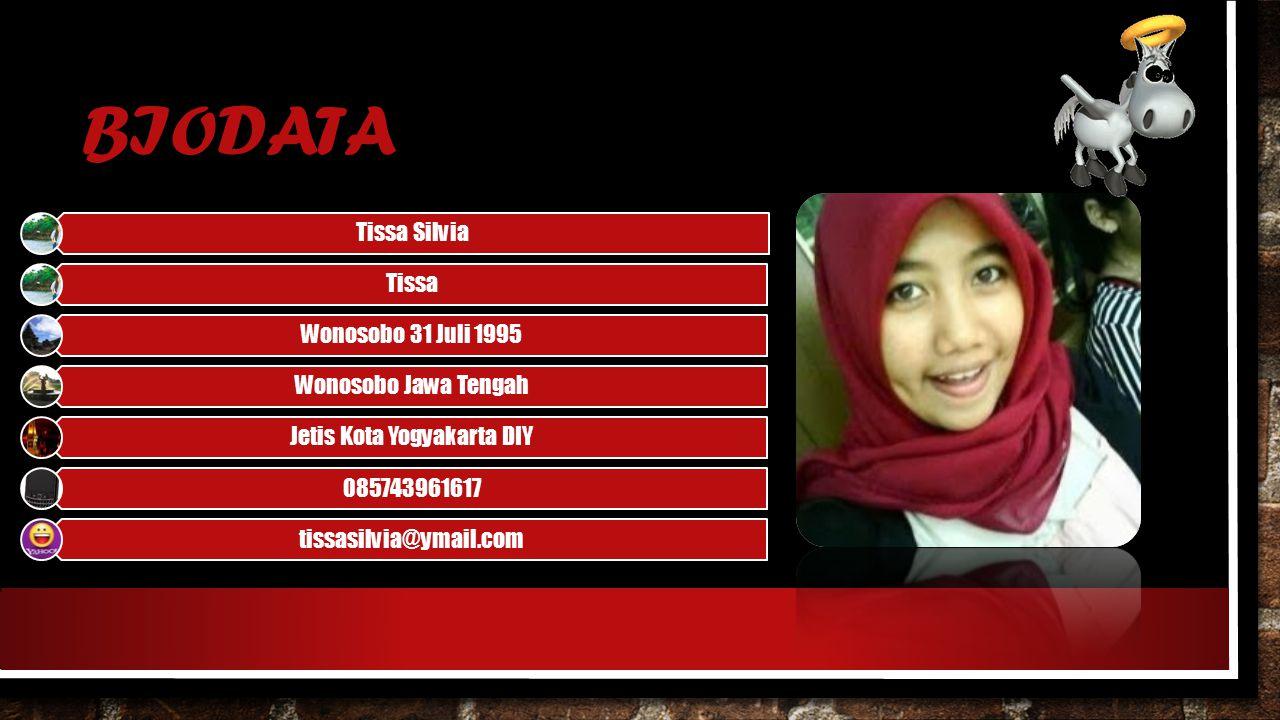 BIODATA Tissa Silvia Tissa Wonosobo 31 Juli 1995 Wonosobo Jawa Tengah Jetis Kota Yogyakarta DIY 085743961617 tissasilvia@ymail.com