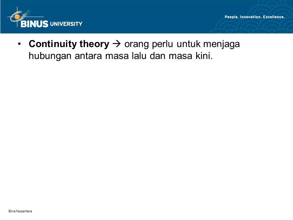 Bina Nusantara Continuity theory  orang perlu untuk menjaga hubungan antara masa lalu dan masa kini.