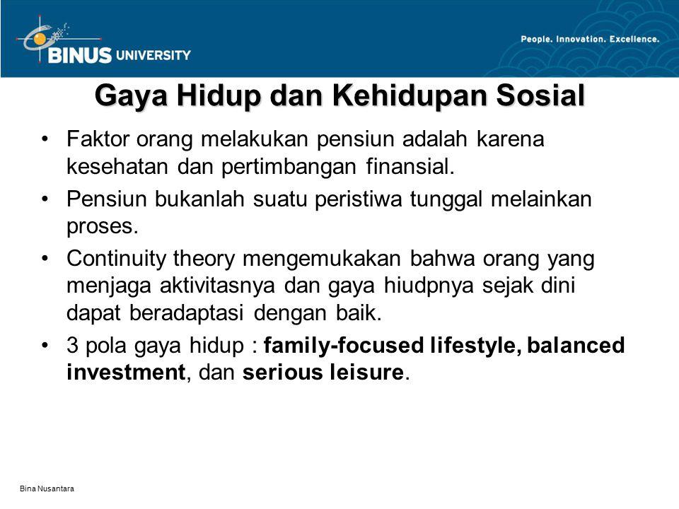Bina Nusantara Gaya Hidup dan Kehidupan Sosial Faktor orang melakukan pensiun adalah karena kesehatan dan pertimbangan finansial. Pensiun bukanlah sua