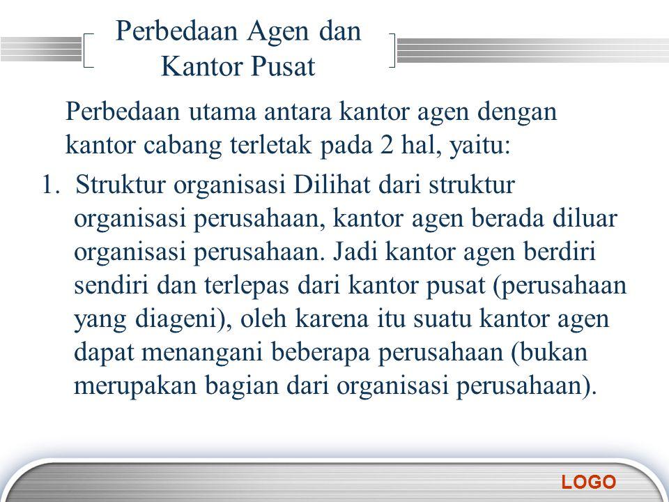 LOGO Perbedaan Agen dan Kantor Pusat Perbedaan utama antara kantor agen dengan kantor cabang terletak pada 2 hal, yaitu: 1. Struktur organisasi Diliha