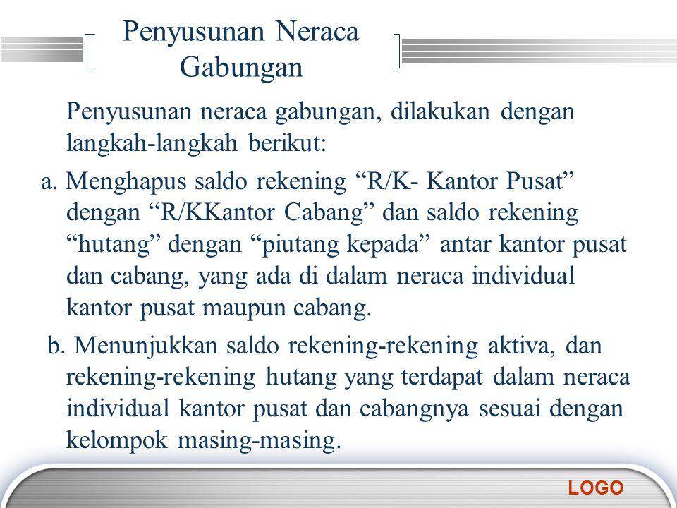 "LOGO Penyusunan Neraca Gabungan Penyusunan neraca gabungan, dilakukan dengan langkah-langkah berikut: a. Menghapus saldo rekening ""R/K- Kantor Pusat"""