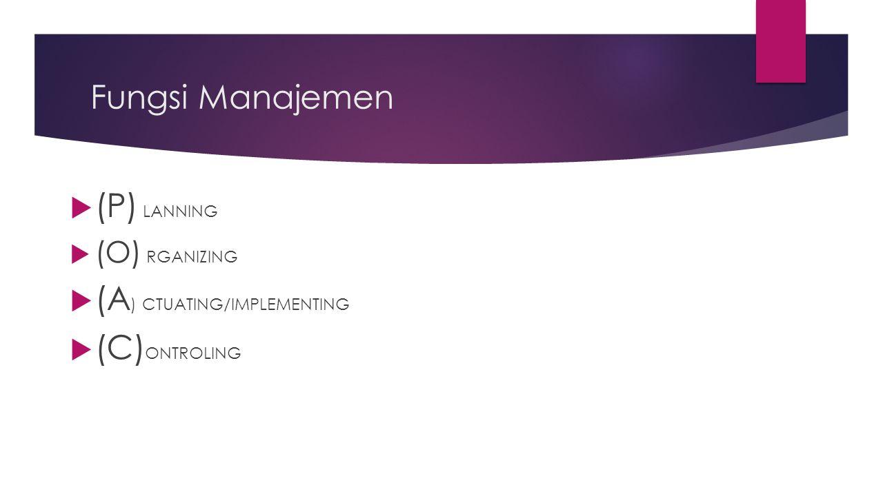 Fungsi Manajemen  (P) LANNING  (O) RGANIZING  (A ) CTUATING/IMPLEMENTING  (C) ONTROLING