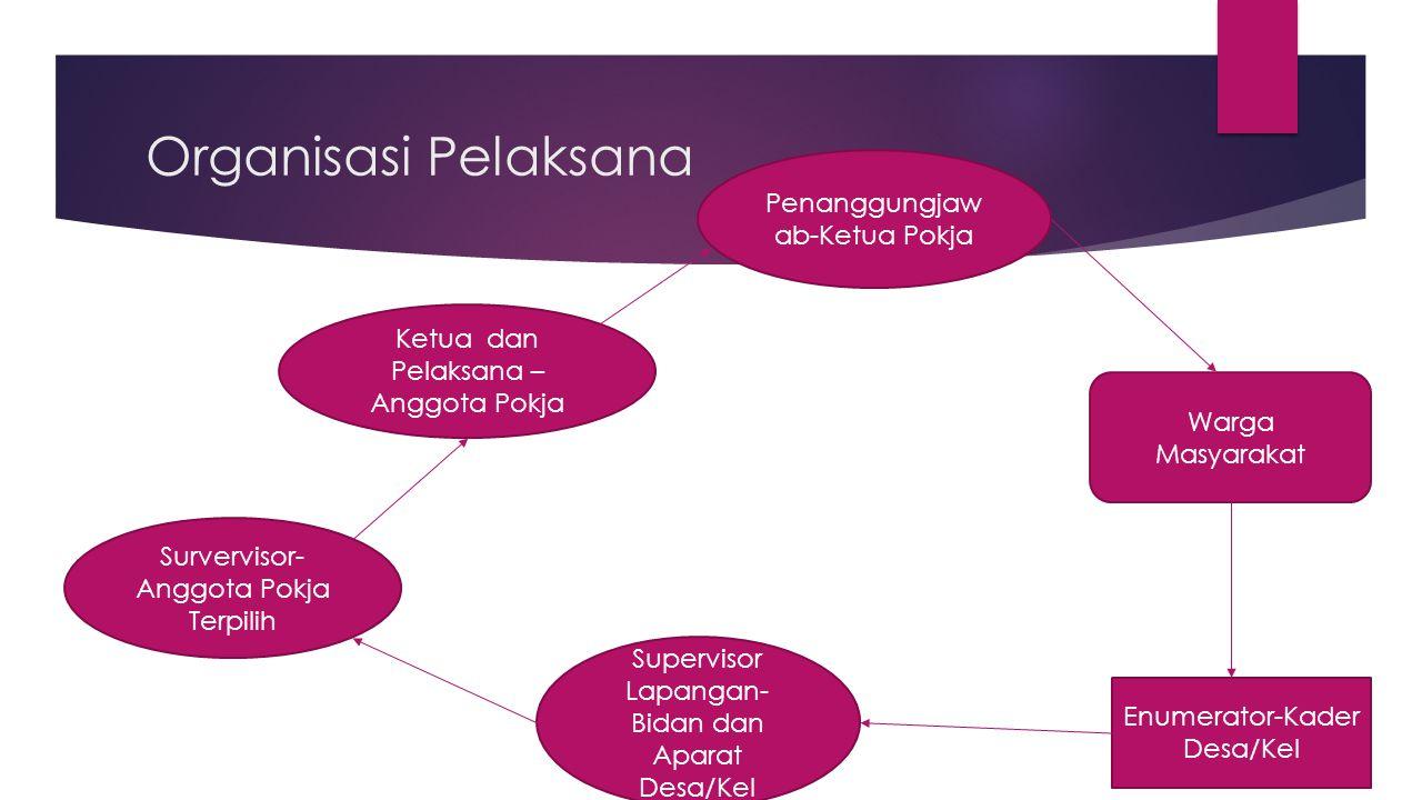 Organisasi Pelaksana Penanggungjaw ab-Ketua Pokja Ketua dan Pelaksana – Anggota Pokja Survervisor- Anggota Pokja Terpilih Supervisor Lapangan- Bidan d