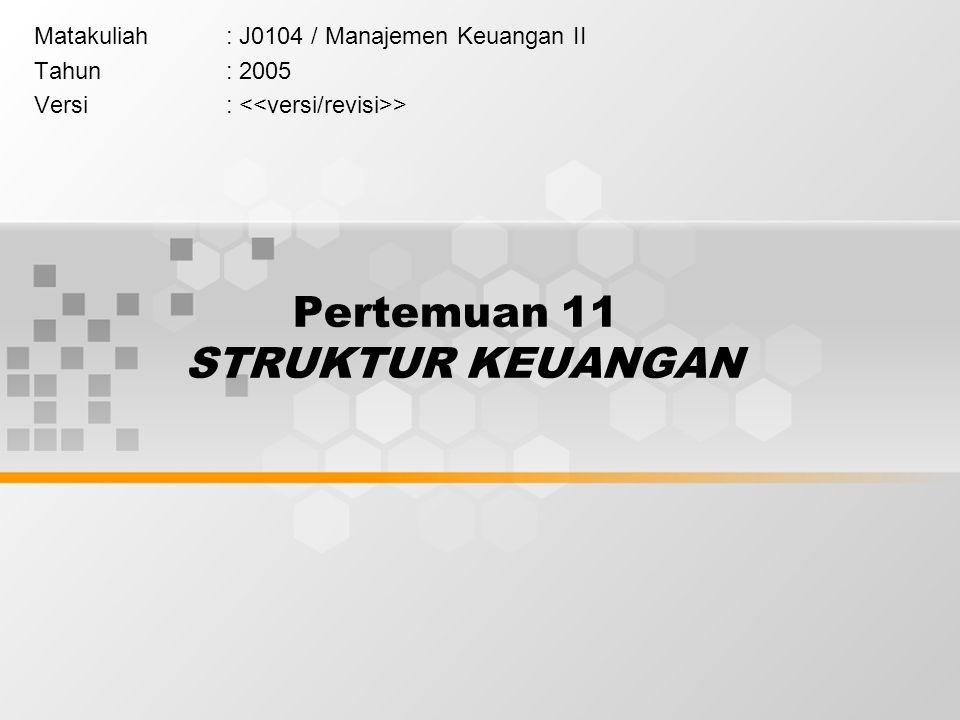 Pertemuan 11 STRUKTUR KEUANGAN Matakuliah: J0104 / Manajemen Keuangan II Tahun: 2005 Versi: >
