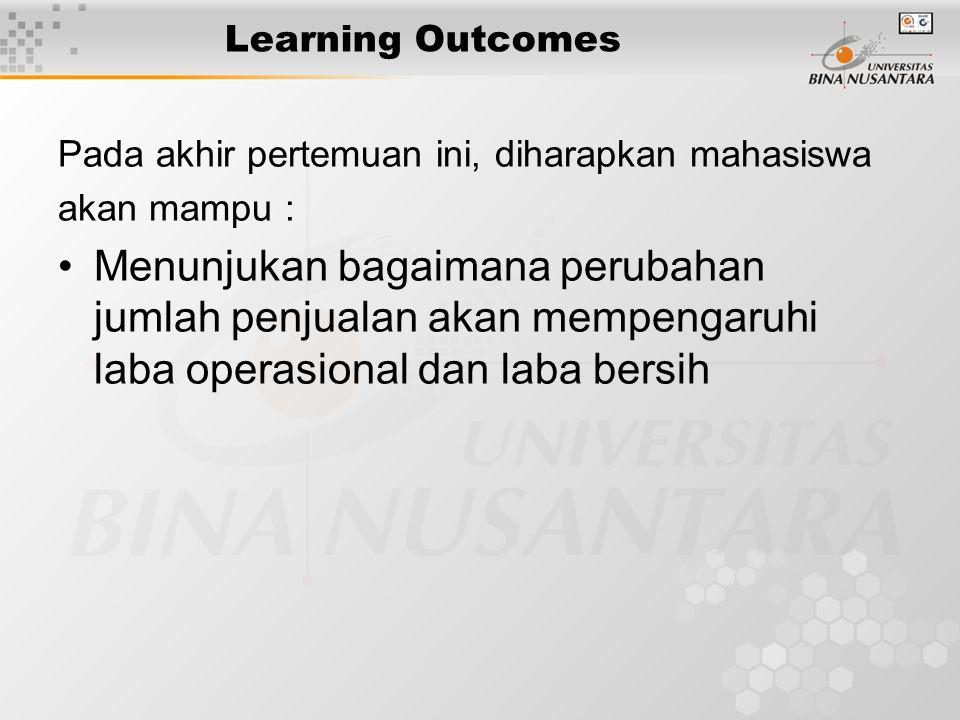 Learning Outcomes Pada akhir pertemuan ini, diharapkan mahasiswa akan mampu : Menunjukan bagaimana perubahan jumlah penjualan akan mempengaruhi laba operasional dan laba bersih