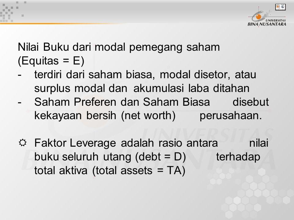 Nilai Buku dari modal pemegang saham (Equitas = E) - terdiri dari saham biasa, modal disetor, atau surplus modal dan akumulasi laba ditahan - Saham Preferen dan Saham Biasa disebut kekayaan bersih (net worth) perusahaan.