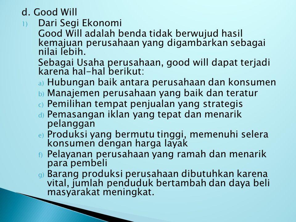 d. Good Will 1) Dari Segi Ekonomi Good Will adalah benda tidak berwujud hasil kemajuan perusahaan yang digambarkan sebagai nilai lebih. Sebagai Usaha