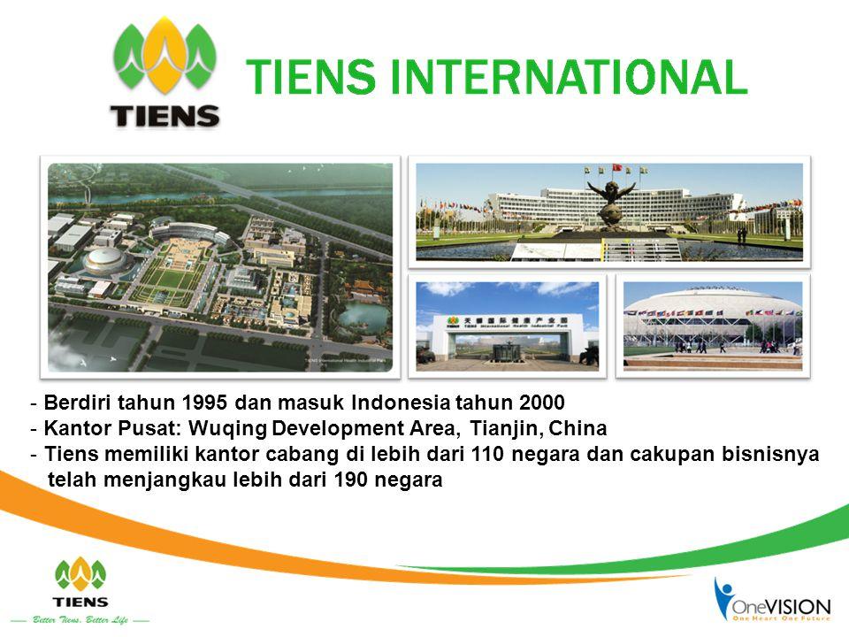 - Berdiri tahun 1995 dan masuk Indonesia tahun 2000 - Kantor Pusat: Wuqing Development Area, Tianjin, China - Tiens memiliki kantor cabang di lebih da