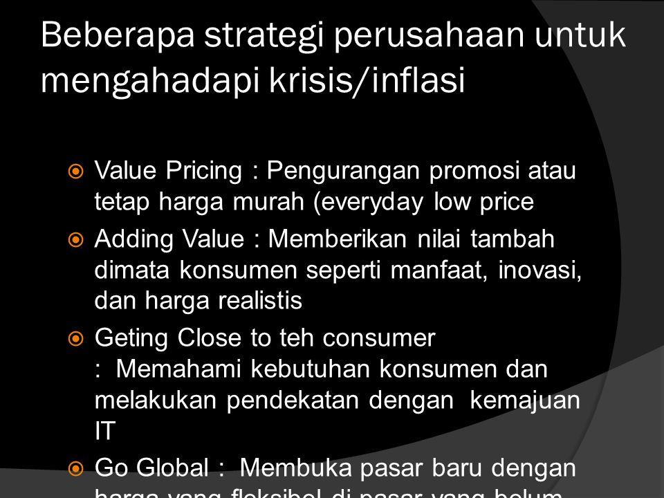 Beberapa strategi perusahaan untuk mengahadapi krisis/inflasi  Value Pricing : Pengurangan promosi atau tetap harga murah (everyday low price  Addin