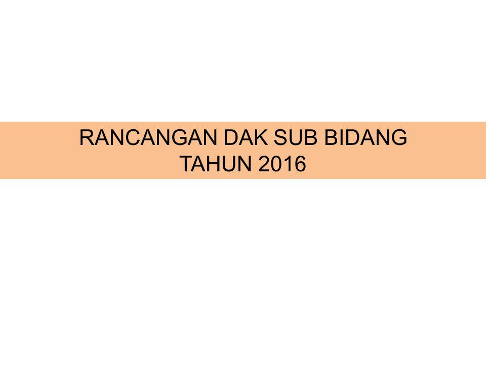 RANCANGAN DAK SUB BIDANG TAHUN 2016